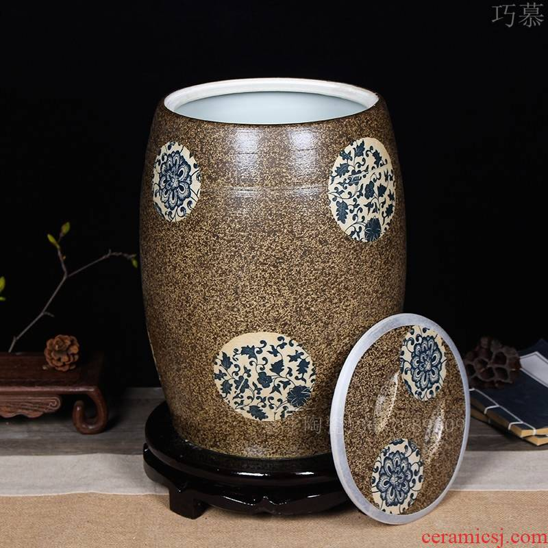 Longed for jingdezhen ceramic barrel home opportunely thickening with cover 20 jins 30 jins of 50 kg sealed ricer box storage tank in the kitchen