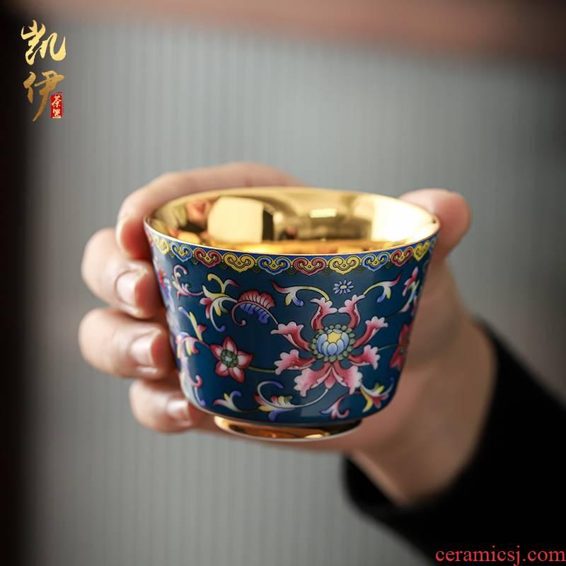 Colored enamel gold aloes cup sample tea cup kunfu tea master cup of tea tea cup single ceramic cups marigold