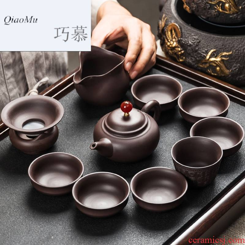 Qiao mu side of purple sand tea sets ceramic kung fu tea cups teapot tea tea taking of a complete set of household contracted
