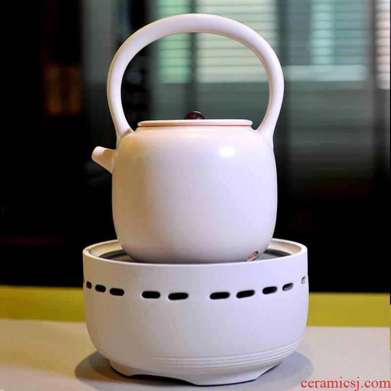Coarse pottery five lines of preserve one's health white ceramic POTS kung fu tea kettle black tea boiled tea kettle ceramic electric TaoLu is special