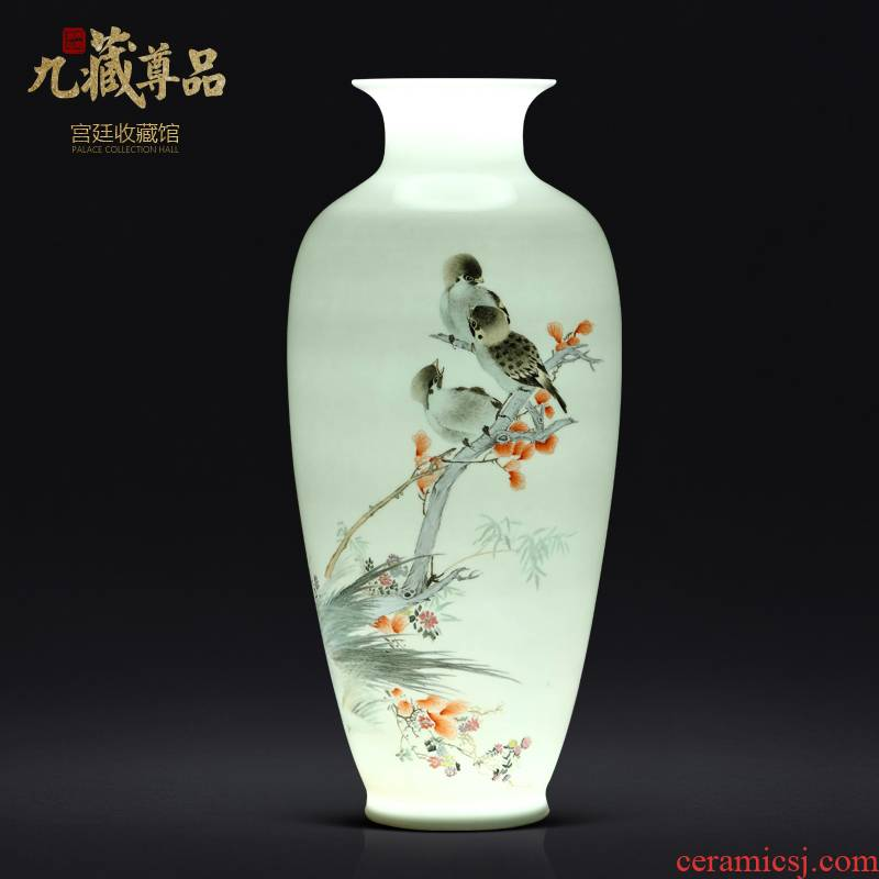 Master hand made enamel thin body painting of flowers and a bottle of jingdezhen ceramics Chinese style living room TV cabinet porch is decorated furnishing articles