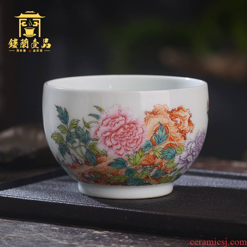 All hand - made pastel peony master of jingdezhen ceramics kung fu tea set large tea cup to use single CPU
