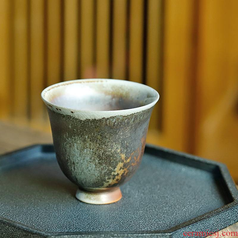 Jingdezhen sample tea cup without glaze orphan works hand made 】 【 naked burn firewood can be a kung fu master cup of pure manual tea cups