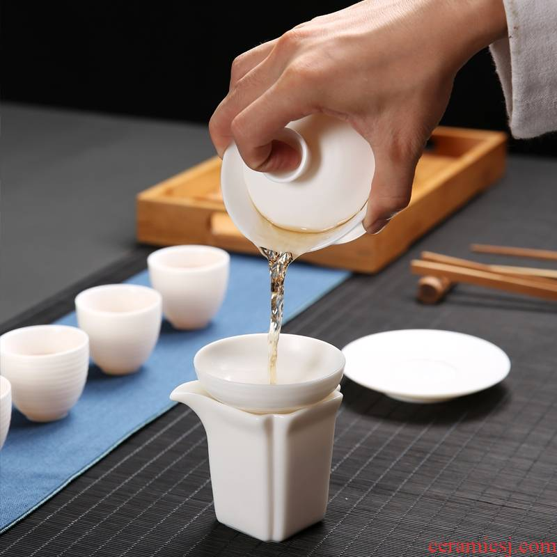 Qiao mu tureen white porcelain suet white jade porcelain cups to propose three teapots only kung fu tea cup teapot manually flush
