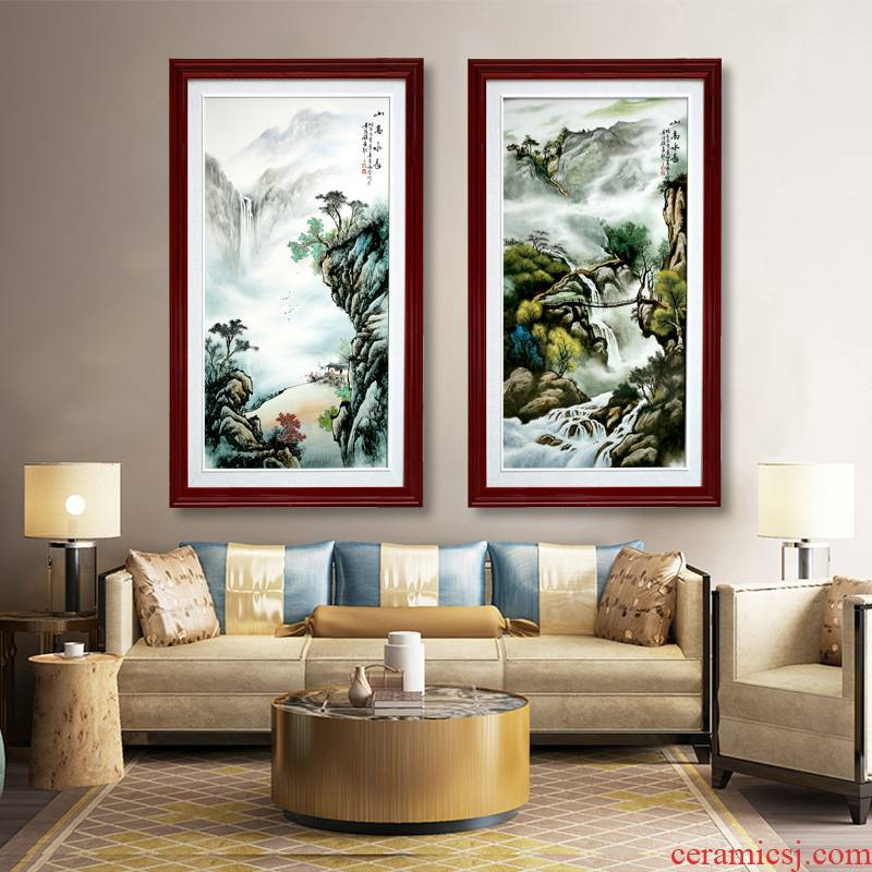 Jingdezhen porcelain plate painting hill high water is long sitting room background wall porch study bedroom adornment household hangs a picture