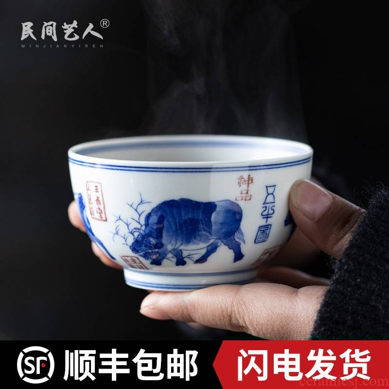 Five NiuTu masters cup manual hand - made ceramic kung fu tea set of blue and white porcelain cup single cups of jingdezhen sample tea cup