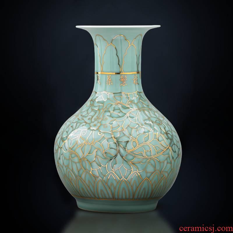 Jingdezhen ceramic hand the see colour blue glaze porcelain vase large light key-2 luxury furnishing articles creative Chinese style household decorations