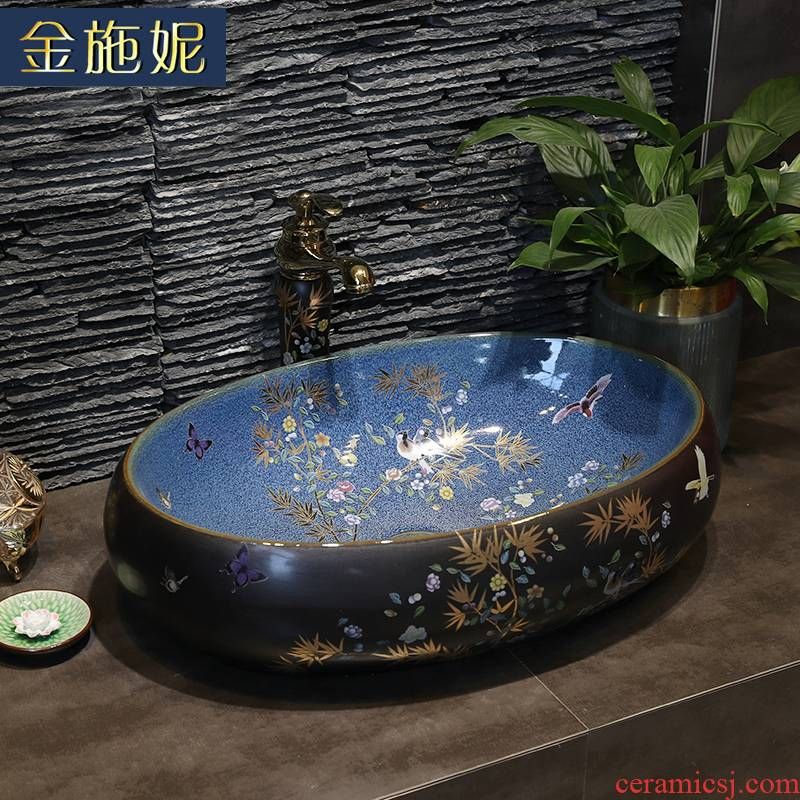 Girls, painting of flowers and household ceramic art basin stage basin sink square the pool that wash a face wash basin bathroom