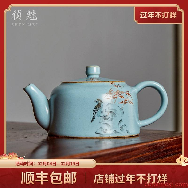 Shot incarnate your up hand - made painting of flowers and little teapot jingdezhen ceramic kung fu tea set household filter teapot single pot