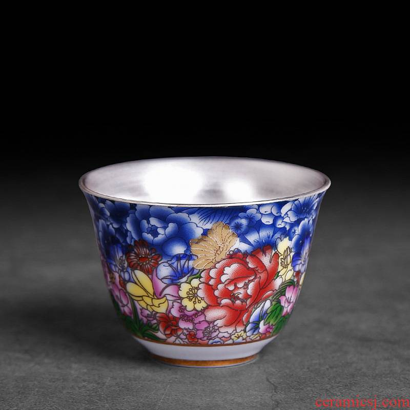 Sterling silver cup small checking ceramic cups a single master cup single cup tea home u.s, kung fu tea tea