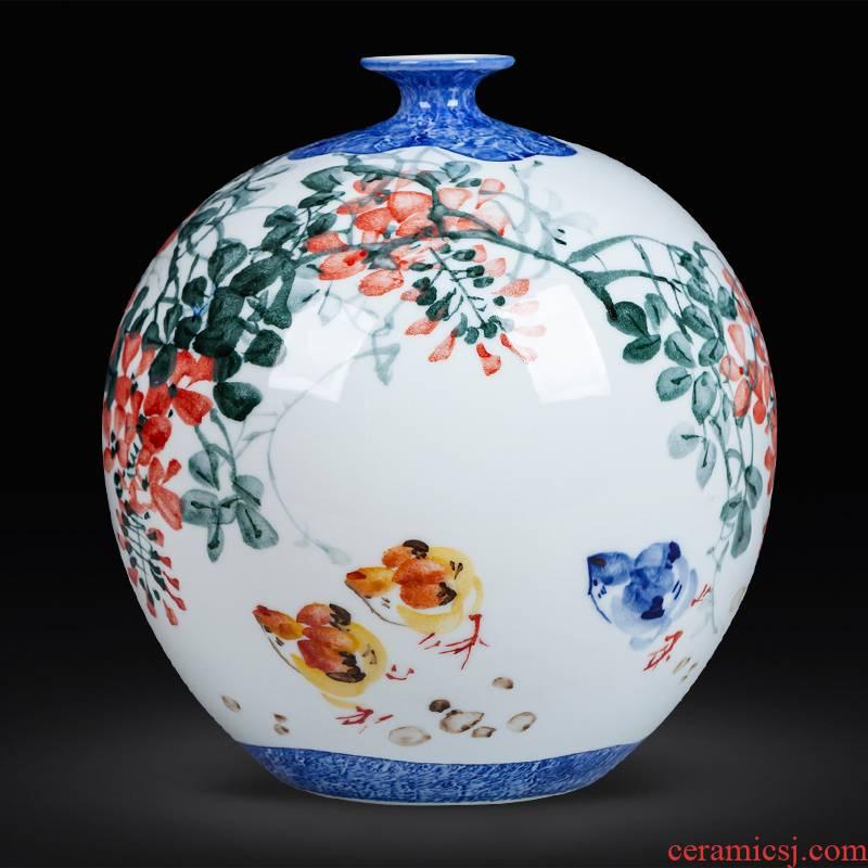 Jingdezhen ceramics hand - made pomegranate vase vase decoration furnishing articles furnishing articles sitting room of Chinese style household, office