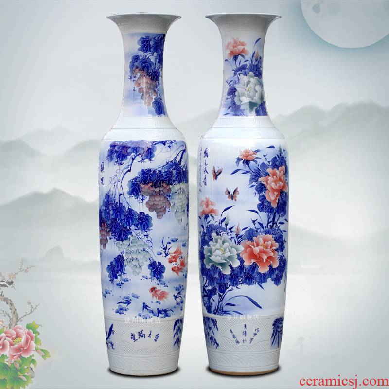 Hand - made porcelain of jingdezhen ceramic floor big vase peony grape hotel sitting room adornment is placed
