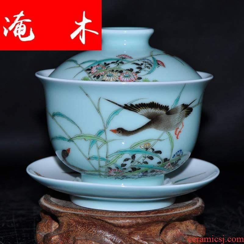Submerged wood jingdezhen porcelain tea tureen hand - made pastel three cup Jin Hongxia hand bowl