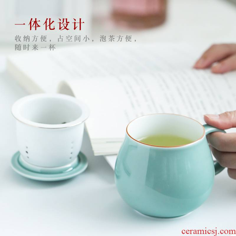 Jingdezhen ceramic filter cup customize personal office cup with cover color glaze keller cup cup tea cups