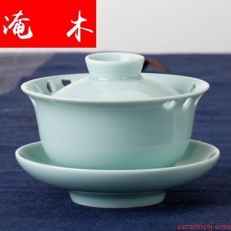 Flooded wooden tea service of jingdezhen ceramic kung fu tea set three standard tureen celadon bowl teapot teacup