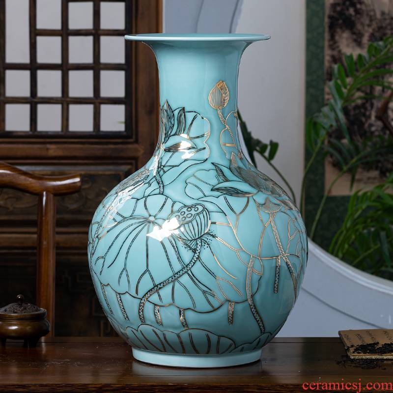 Jingdezhen porcelain ceramic green glair see colour design hand - made big vase furnishing articles of new Chinese style home sitting room adornment