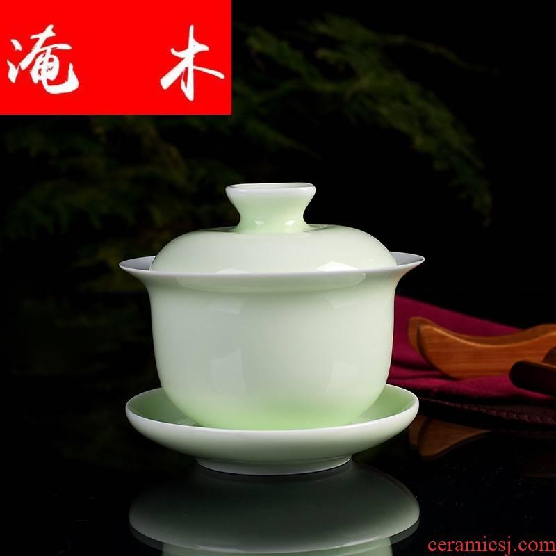 Submerged wood tureen tea cups three large pea green to large jingdezhen celadon glaze household kung fu tea set