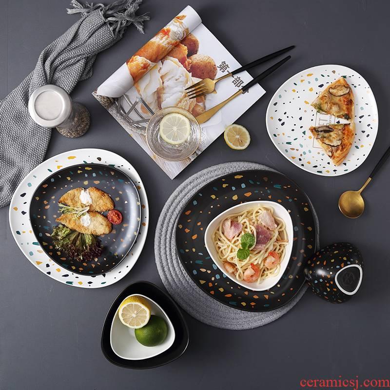 2021 northern dishes suit household terrazzo ceramic bowl contracted creative move western - style food plate combination