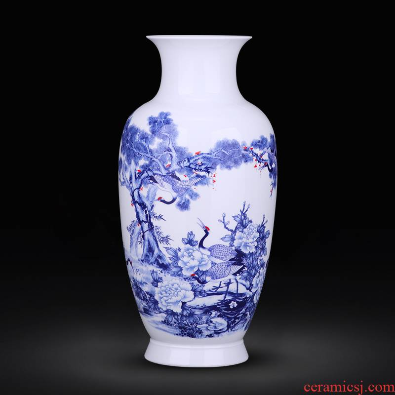 Jingdezhen blue and white ceramics pastel landscape vases, flower arranging rich ancient frame sitting room adornment of Chinese style household furnishing articles