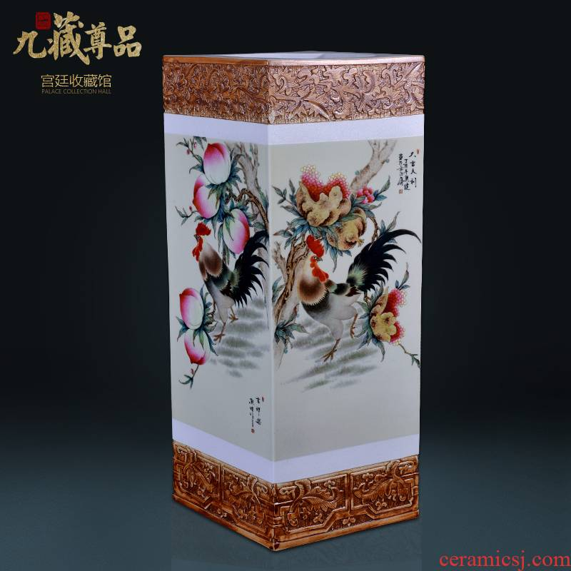 Jingdezhen ceramics engraving prosperous set the trap painting and calligraphy barrels of Chinese style living room TV cabinet decorative furnishing articles arranging flowers