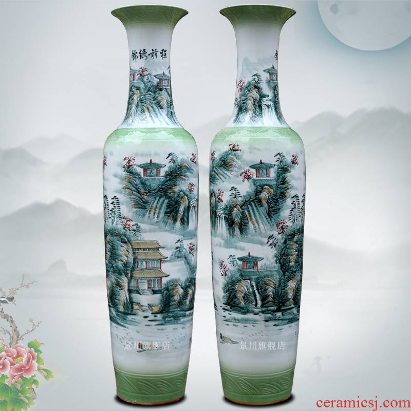 Jingdezhen ceramics hand - made color bright future of large vase sitting room hotel modern furnishing articles ornaments