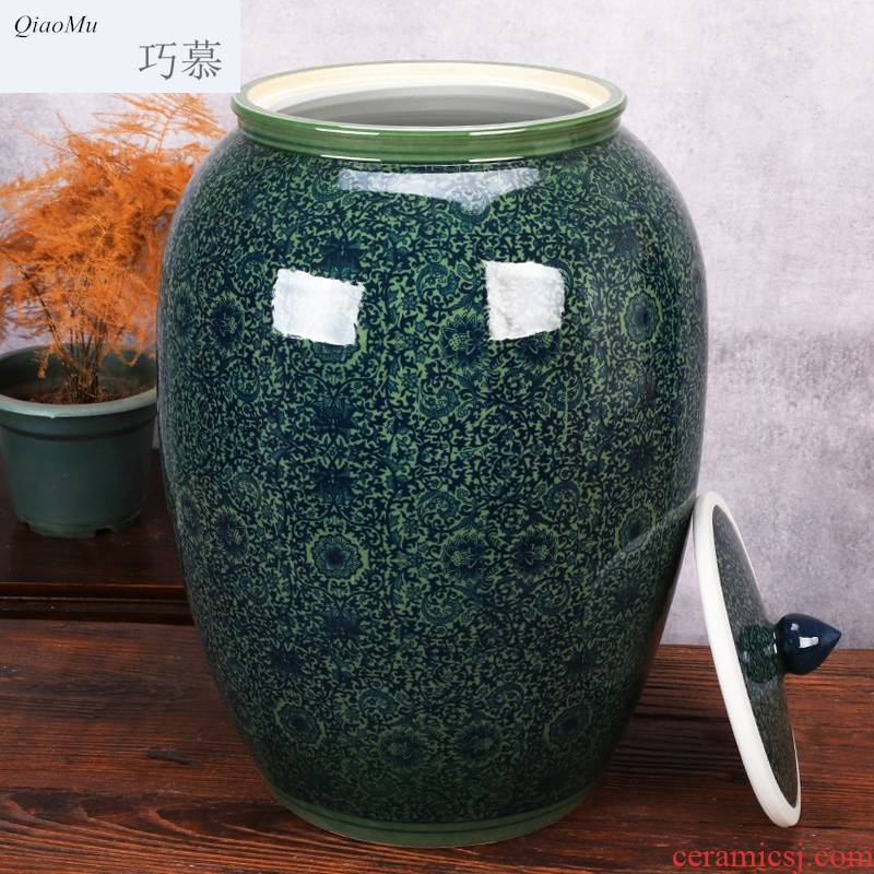 Qiao mu jingdezhen ceramic barrel storage bins moistureproof insect - resistant cylinder ricer box kg30 20 jins 50 kg sealed with cover