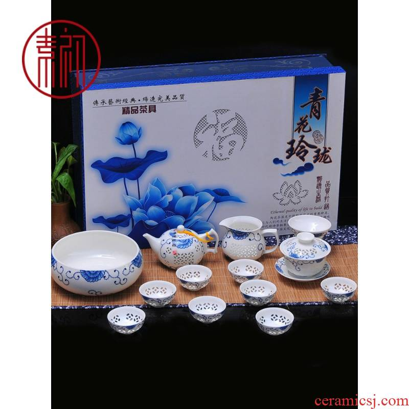 Jingdezhen porcelain and exquisite hollow ceramic kung fu tea set contracted a whole set of ipads China cups gift box