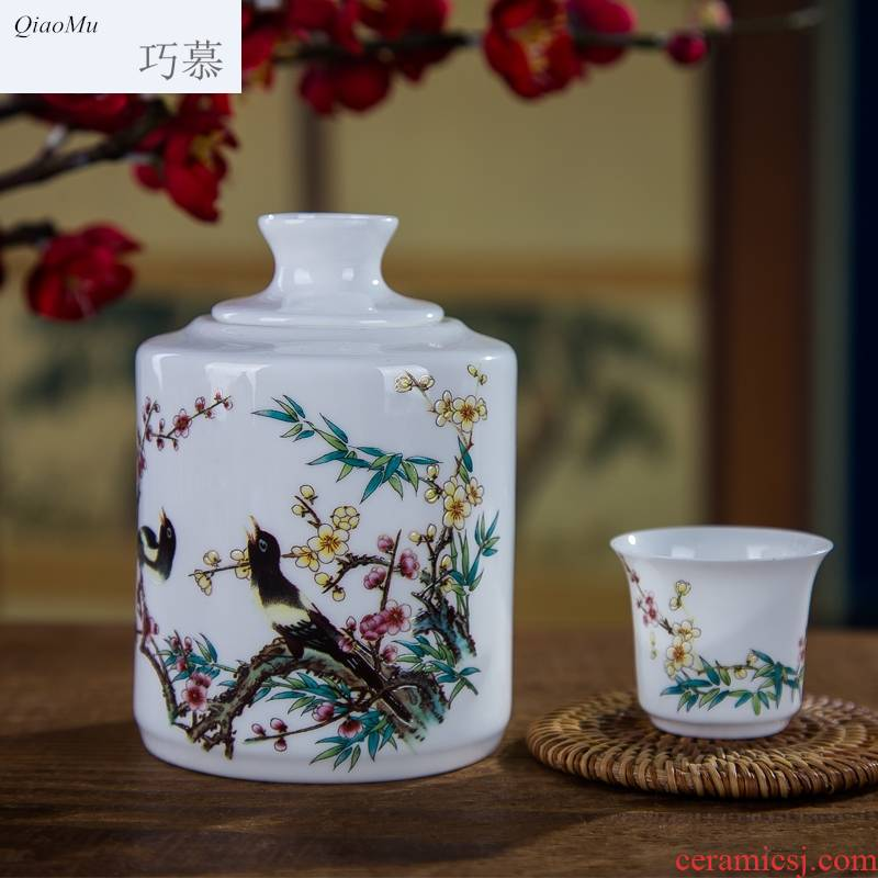 Qiao mu thin fetal ipads porcelain two temperature wine pot hot wine warm wine suits for jingdezhen ceramic white yellow glass