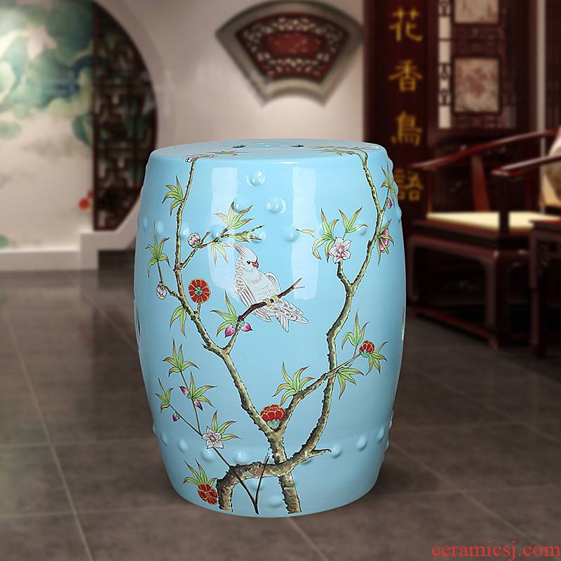 359 jingdezhen ceramic Chinese rural study classical bedroom home dress and sit who flower ceramic drum who