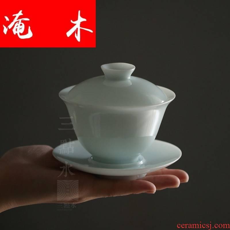 Submerged wood jingdezhen ceramic tureen large thin foetus white porcelain three manual celadon worship only bowl bowl cups kung fu