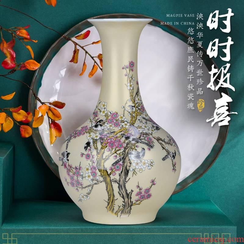 Jingdezhen ceramic powder enamel Chinese vase is placed a large sitting room bedroom rich ancient frame flower arranging porcelain decoration
