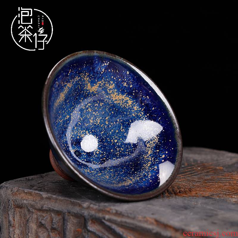 WenHongYuan works in shenhou jun porcelain tea cups up master cup personal single cup star hat cup pure manual