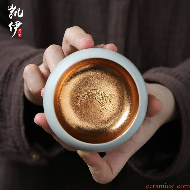Your up 24 k jinzhan cups sliced open can raise kung fu tea cups jingdezhen ceramic sample tea cup large master cup trophy
