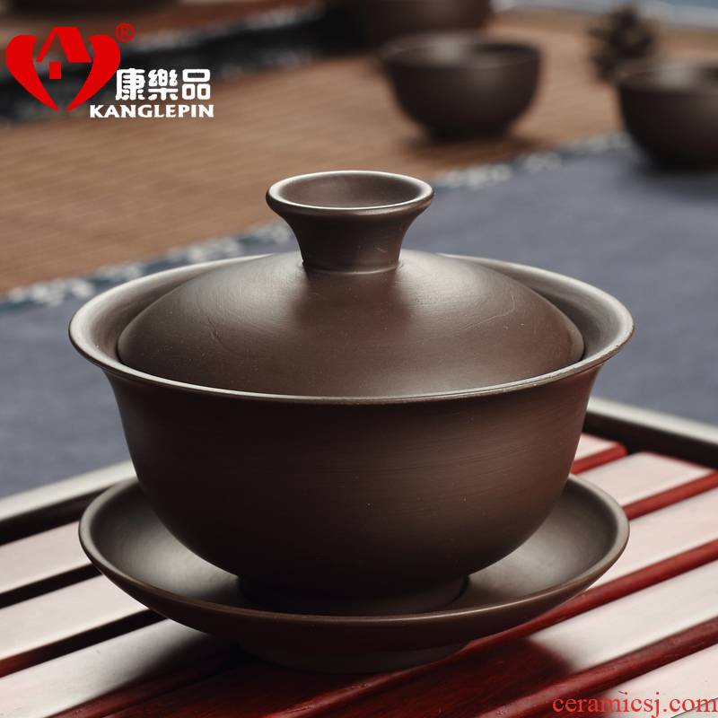 Recreational product large capacity kung fu tea accessories yixing purple sand only three tureen worship purple clay teapots make tea cups