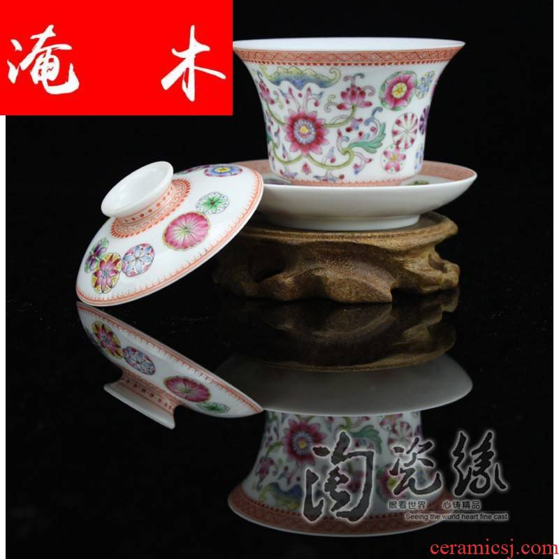 Flooded, rhyme jingdezhen porcelain tea set manually tureen only three cup bowl hand - made famille rose tea, tea CWJ