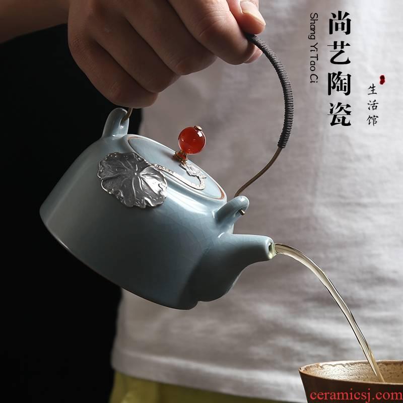 Your up checking silver teapot Japanese start the porcelain pot of tea ware ceramic girder kung fu tea pot