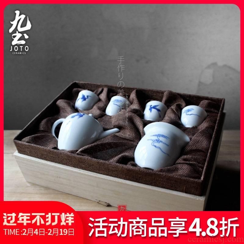 About Nine soil auspicious crane live contracted zen jingdezhen ceramic traditional hand - made porcelain gift set tea service