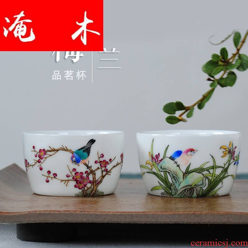 Submerged wood jingdezhen hand - made ceramic cups kung fu tea sets manual single cup powder enamel masters cup