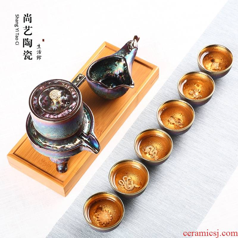 Colorful up with silver, semi - automatic kung fu tea set household whitebait glass ceramic lazy stone mill make tea