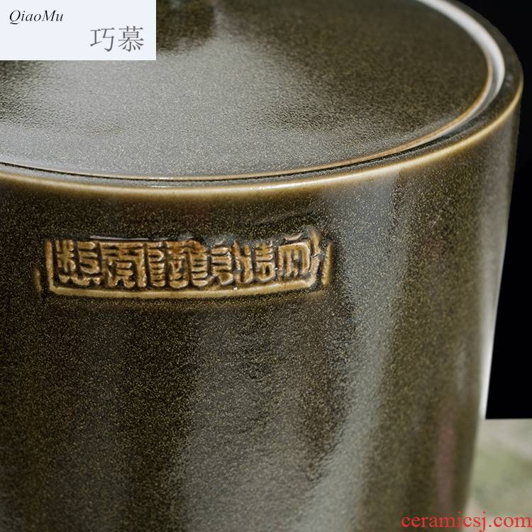 Qiao mu jingdezhen ceramic barrel ricer box with cover ceramic surface at the end of the cylinder cylinder tea tea glaze jars of oil tank