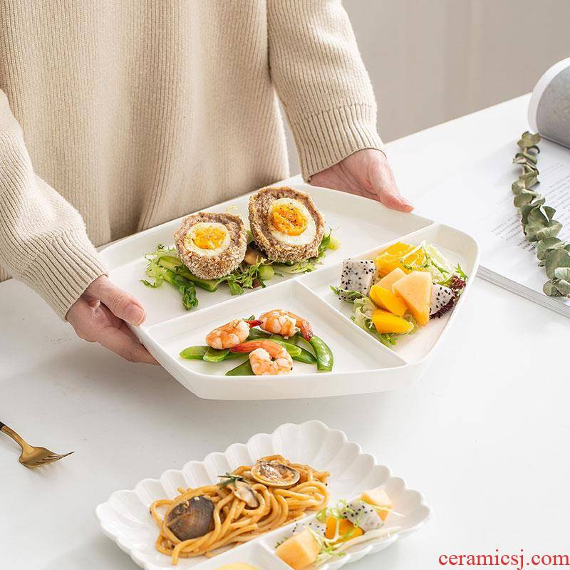 Japanese dish ceramic western food steak plate household means dietary dinning plate creative adult three fat reducing plates