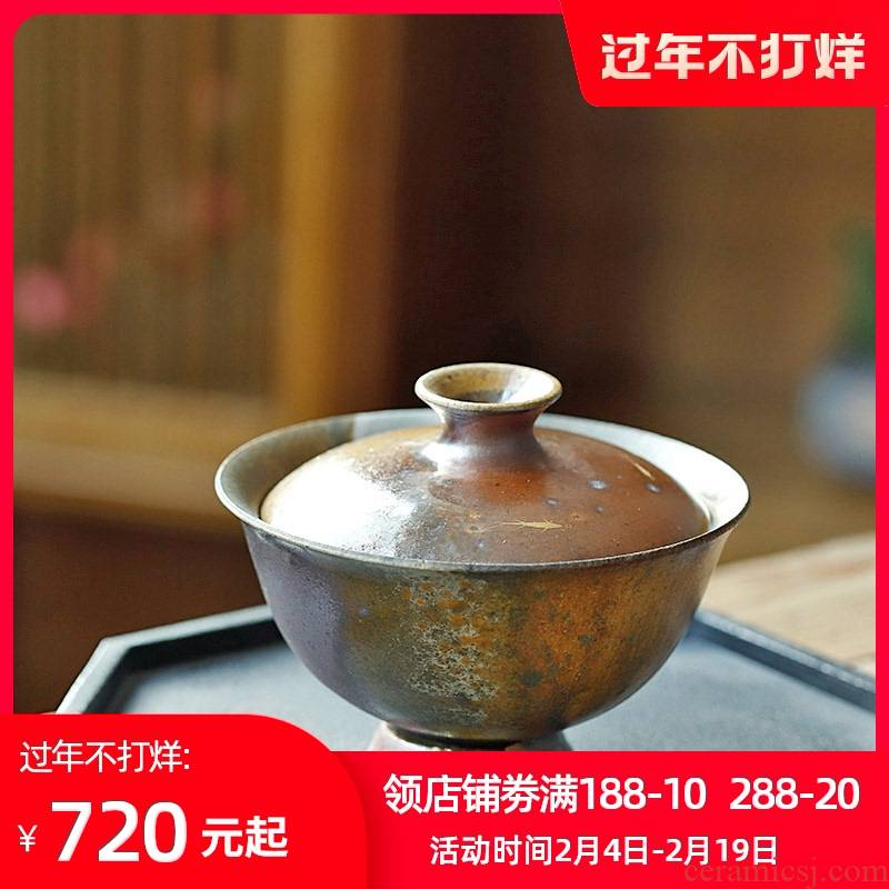 Orphan works hand as tureen tea cups jingdezhen 】 pure manual small wood up change hand grasp pot of tea bowl of Japanese