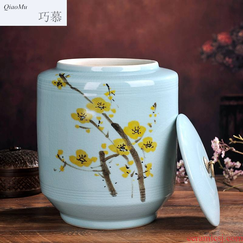Qiao mu jingdezhen ceramic household ricer box Kim 'moom' means' barrel sealing surface storage box ricer box moistureproof worm storage tank 2