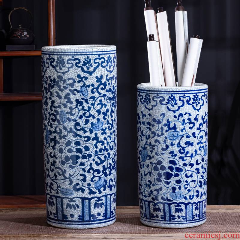 Jingdezhen ceramic hand - made archaize large blue and white porcelain vase painting and calligraphy scrolls cylinder word quiver sitting room floor furnishing articles