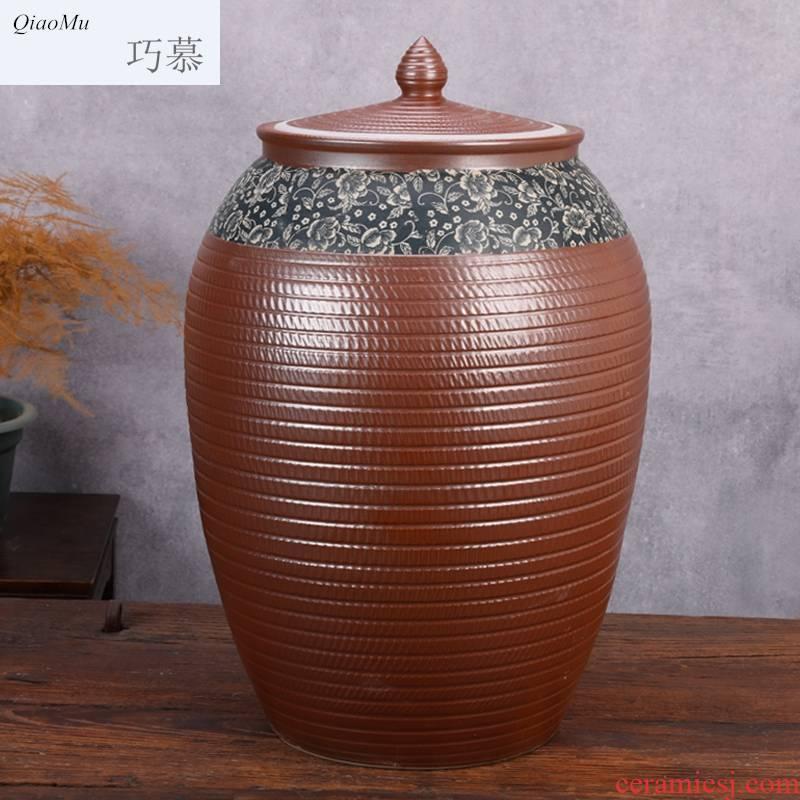 Qiao mu jingdezhen ceramic barrel tank cylinder storage tank is 100 jins caddy fixings large household porcelain pot