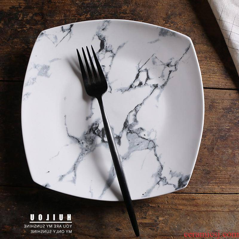 The kitchen creative ceramic plate, square stone plate household salad plate hotel bowl plate tableware custom manufacturer