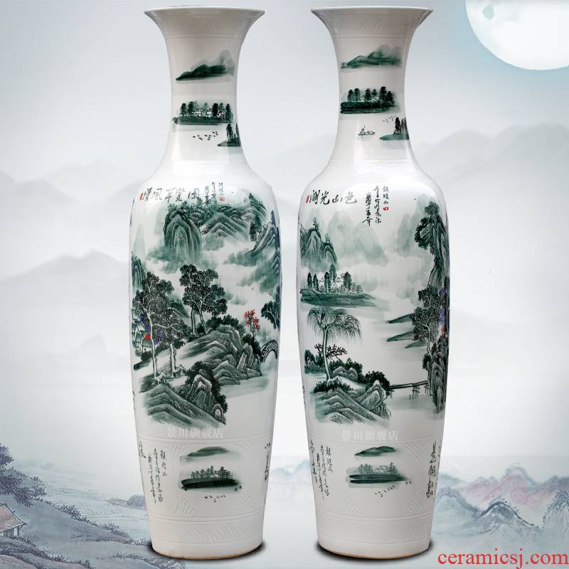 Jingdezhen hand - made wind thatched cottage figure of large ceramic vase pendulum home sitting room adorn article opening gifts