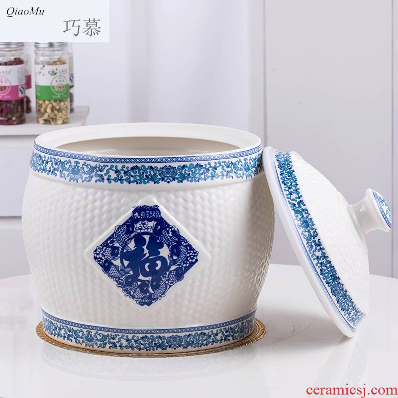 Qiao mu ceramic barrel with cover of jingdezhen ceramic ricer box with cover storage jar airtight household moistureproof insect - resistant reservoir