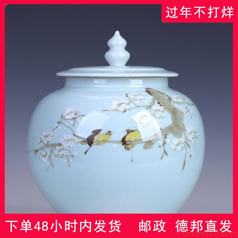 Jingdezhen hand - made name plum flower ceramic tea pot large seal pot 2 jins loose pu - erh tea storage POTS of household