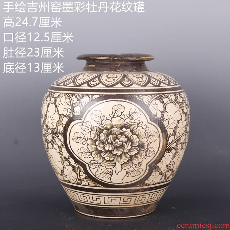 Archaize song dynasty jizhou up hand - made color ink YunLongWen as cans ceramic antique Chinese style household furnishing articles home antique collection